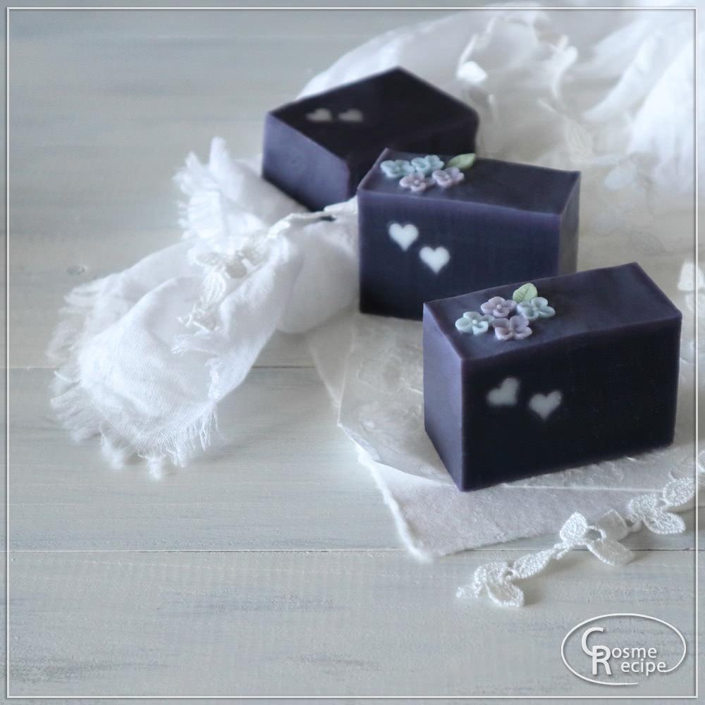 紫根と紫陽花コンフェの手作り石けん講座のご案内 ハートバージョン