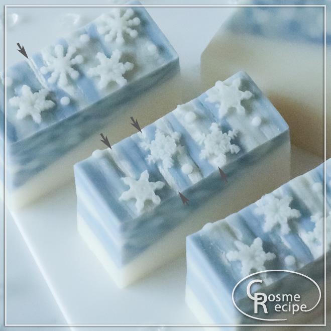 雪の結晶デザイン石けん アップ