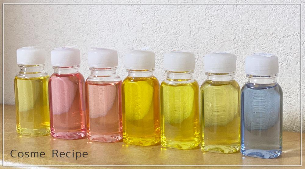 リキッドソープを数種の天然素材で着色し退色実験をする