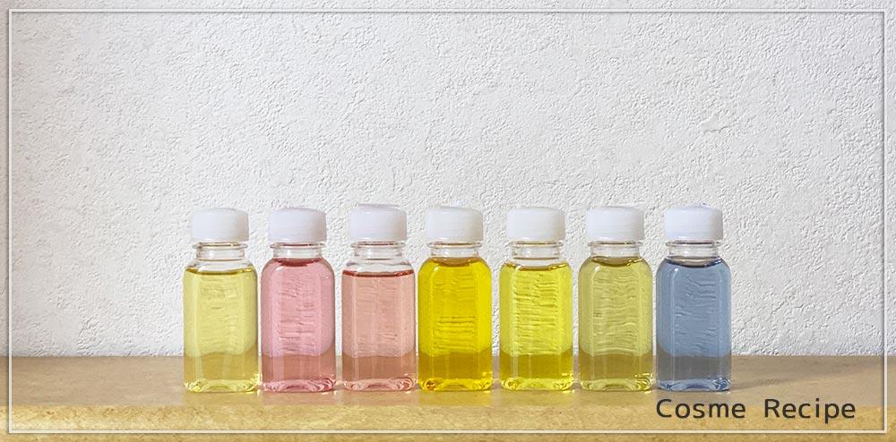 リキッドソープを数種の天然素材で着色し退色実験をする 引きの画像
